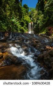 Water fall in rain forest in Vietnam