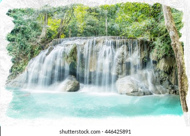 water fall thailand water color effect process