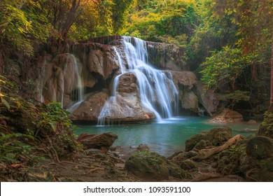 Water falls landscape colorful ,Huay Mae Kamin Thailand waterfall in Kanjanaburi
