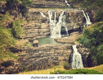 Water Falls Little Niagara of Sri Lanka waterfall which is 80 metres, vintage nature background