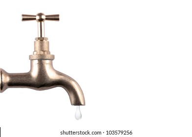 Water faucet with drop on white background