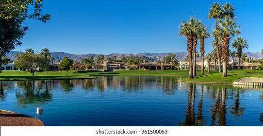 Water feature a Palm Desert golf resort.