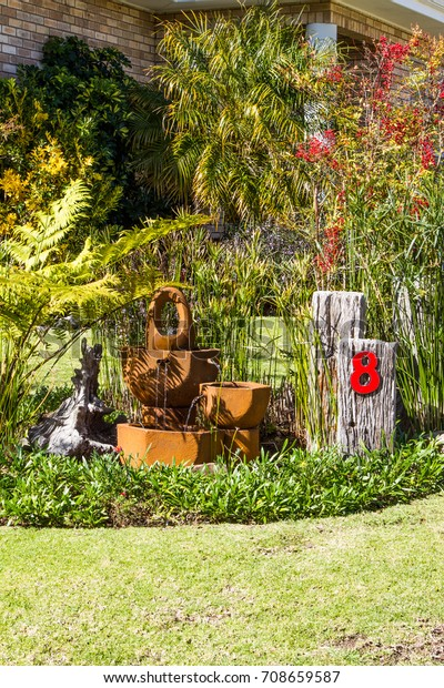 Water Feature Small Suburban Garden George Stock Photo Edit Now