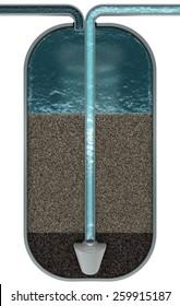 Water filter, cut scheme, 3d render