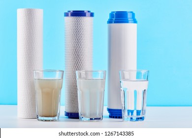 Water filters concept. Carbon cartridges and a three glasses on a white blue background. Household filtration system.