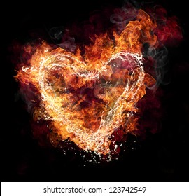 Water and fire heart shape on black background