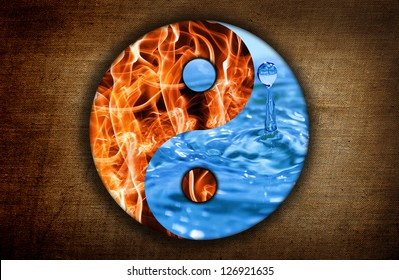 Water and fire. Yin and Yang symbol of harmony