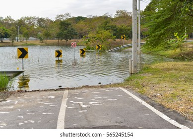 Water flood on the road in Thailand