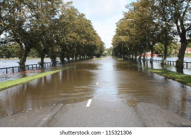 Water flooding road