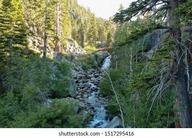 Water flowing down in Eagle Creek, Tahoe, California