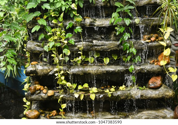 Water Flowing Feng Shui Fountains Indoor Stock Photo (Edit