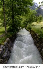 Water flowing just outside Trummelbach Waterfall, Switzerland