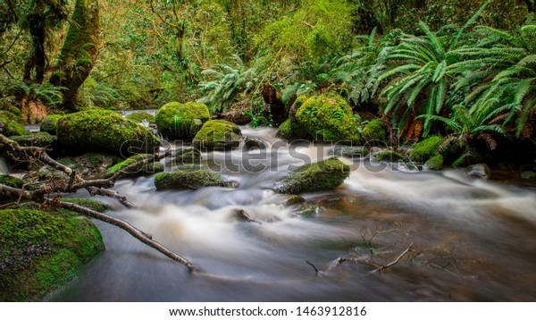 Water flowing over rocks at Blue Mountains, West Otago, New Zealand