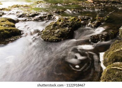 Water flowing over rocks.  Old Stone Fort State Archaeological Park, Manchester, TN, USA.