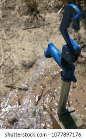 Water Flows Hydrant Lawn Spigot