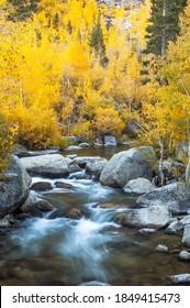Das Wasser fließt durch einen Felsbach in den Bergen der Sierra Nevada.
