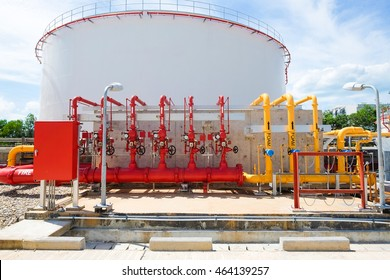 Water and foam for fire protection system in power plant or refinery