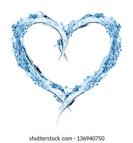 Water forming heart shape over white background
