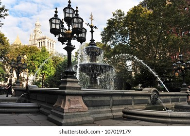 Water fountain in City Hall Park in Manhattan New York City NY USA.