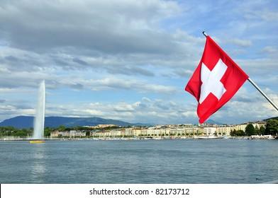 Water fountain Jet D'eau on Lake Geneva, Switzerland