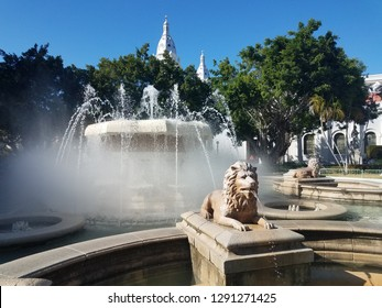 water fountain with lion in the plaza in Ponce, Puerto Rico