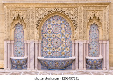 Water Fountain Mausoleum Of Mohammed V near Hassan Tower in the city of Rabat, Morocco