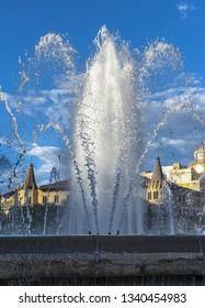 Water fountain at Plaza Catalunya, Barcelona, Spain