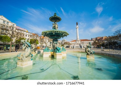 Water Fountain in Rossio Square, Downtown - Empty Lisbon, Portugal, During Coronavirus Lockdown / Pandemic, Morning, April 24, 2020