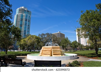 Water fountain in South Straub Park located in St. Petersburg, Florida, USA.