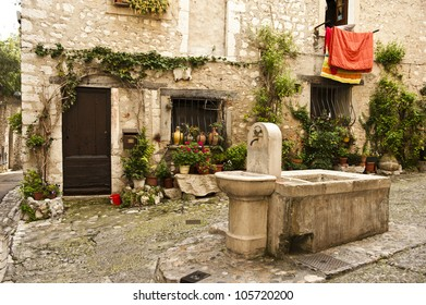 A water fountain in a whimsical village of Saint-Paul, France.