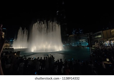 WATER FOUNTAINS, BURJ KHALIFA, DUBAI, UAE-20th SEPTEMBER 2017:-The fountains put on a show every hour incorporating lights for the evening shows.
