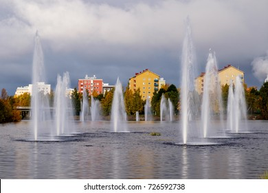 Water fountains on an autumn day in Oulu, Finland.