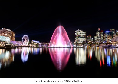 Water fountains show at Darling Harbour, Sydney Australia
