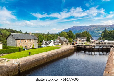 Water gateway in Fort Augustus and Loch Ness in Scotland, United Kingdom