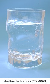 Water Glass on blue background