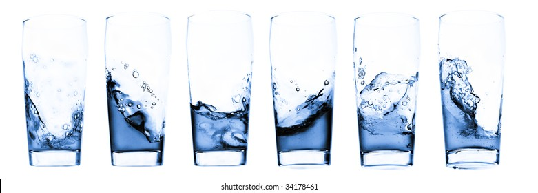 Water in glass - six shots combo - isolated on white