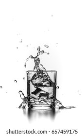 Water in a glass with splashes and ice