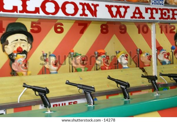 water gun race at amusement park