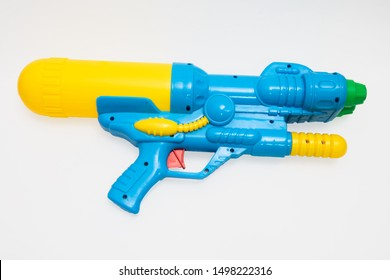 Water gun used for water injection, made from bright colored plastic are equipment for splashing water in the Songkran festival in thailand.