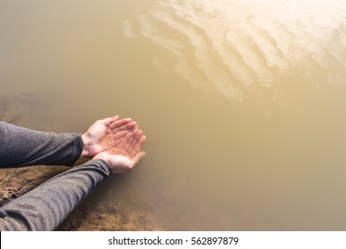 water hands with drought