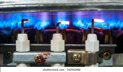 Water heater, fire close up.