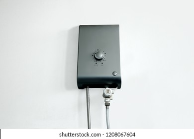 Water Heater on white bathroom wall