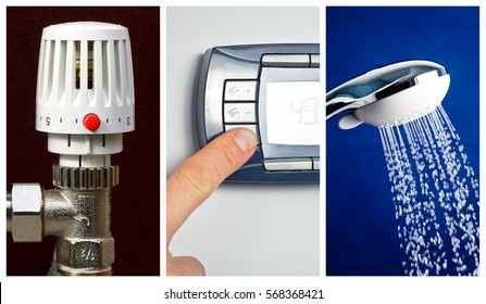 Water heating economy concept - radiator thermostat with red economy button, digital thermostat control panel set to low temperature and shower head with slow running water