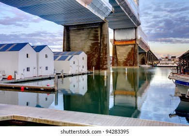 Water homes and bridge in Tacoma, Washington State. Downtown.