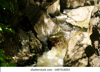 Water from the Hudson Brook flows through a marble chasm in Natural Bridge State Park in North Adams, Massachusetts
