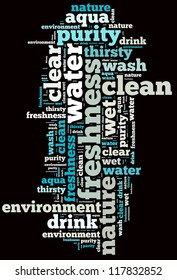 Water info-text graphics and arrangement concept on black background (word cloud)