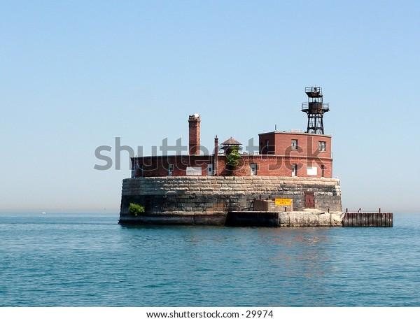 water intake island in Lake Michigan