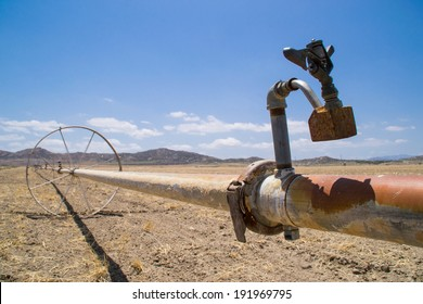 The water irrigation pipes in the dry Southern California farmland.