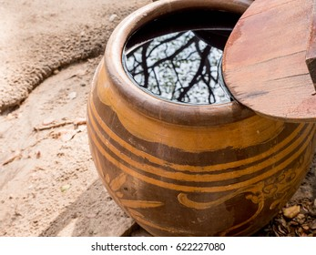 Water jar with wooden lid Tree reflection