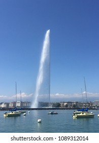Water jet at Eaux Vives on Lake Geneva in Swtizerland on a sunny day
